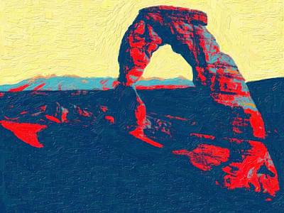 Park Scene Painting - Stone Arch Arches National Park 2 by Celestial Images