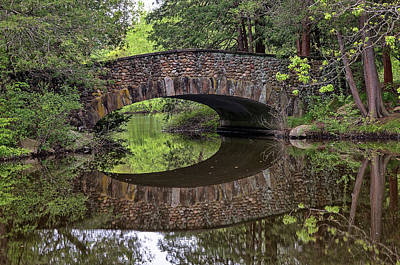 Photograph - Stone Arch Bridge Over Still Water by Kyle Lee