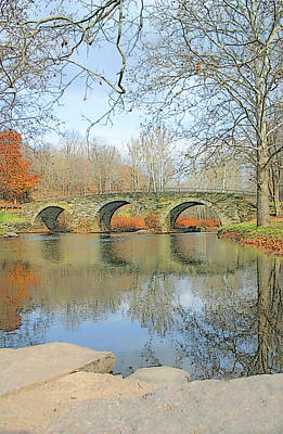 Photograph - Stone Arch Bridge Reflections by Ericamaxine Price