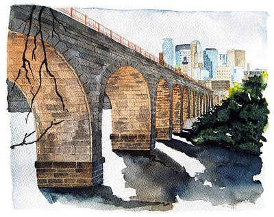 Made In Usa Painting - Stone Arch Bridge Watercolor by Michele Angel