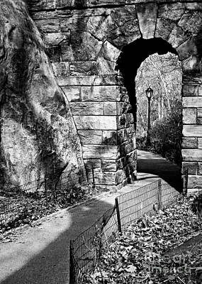 Stone Arch In The Ramble Of Central Park - Bw Art Print