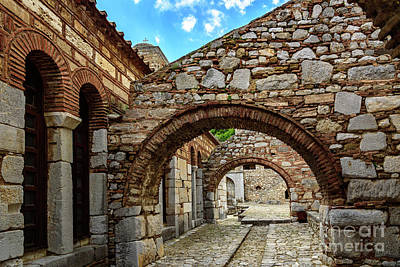 Stone Arches And Walkway At Monastery Of Hosios Loukas In Greece Art Print