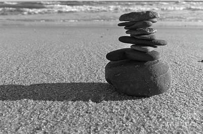 Stone Balance On The Beach In Monochrome Art Print by Angelo DeVal
