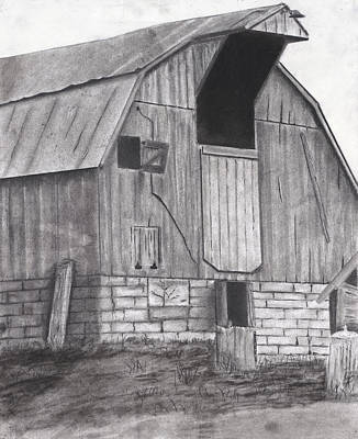 Old Barn Drawing - Stone Barn by Bryan Baumeister