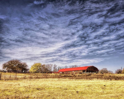 Photograph - Stone Barn Red Roof by Ann Powell