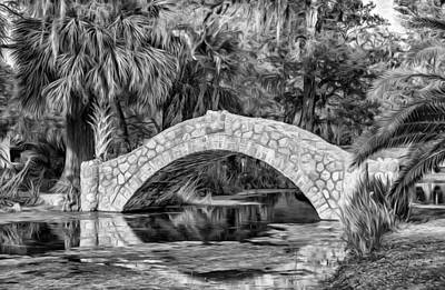 Walkway Digital Art - Stone Bridge 2 - Paint Bw by Steve Harrington