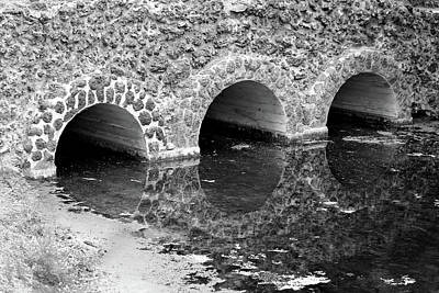 Photograph - Stone Bridge And Reflection 4 Bw Dow Gardens 3 062618 by Mary Bedy