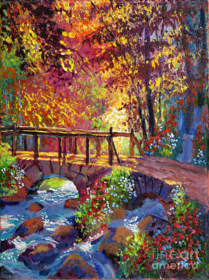 Stone Bridge At Royal Gardens Art Print by David Lloyd Glover
