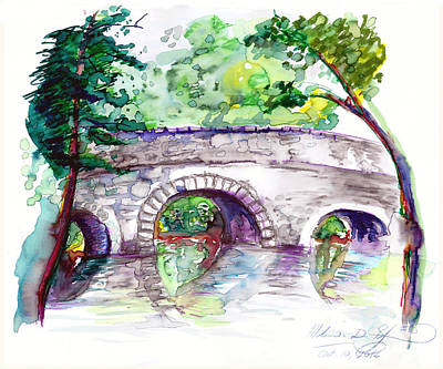 Stone Bridge In Early Autumn Art Print by Melinda Dare Benfield