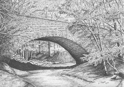Drawing - Stone Bridge by Lawrence Tripoli