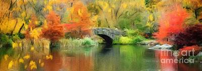 Vibrant Color Digital Art - Stone Bridge On An Autumn Day by Amy Cicconi