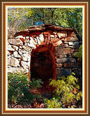 Stone Cabana Amongst Schrubs L B With Alt. Decorative Ornate Printed Frame. Print by Gert J Rheeders