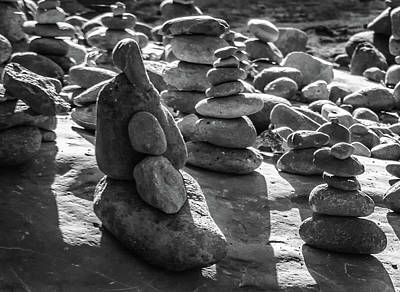 Photograph - Stone Cairns 7791-101717-2cr-bw by Tam Ryan