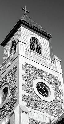Photograph - Stone Church Tower 1 Bw by Mary Bedy