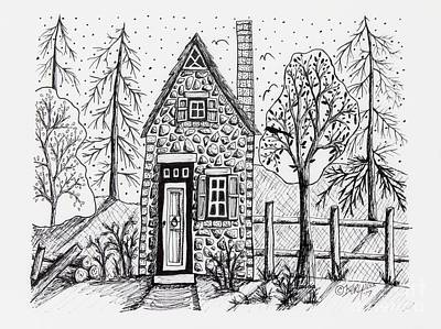 Pen And Ink Drawing Drawing - Stone Cottage by Karla Gerard