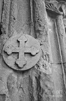 Stone Cross Seal On A Medieval Portal Art Print by Angelo DeVal