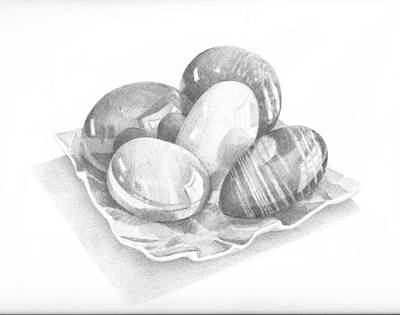 Drawing - Polished Stone Eggs Sketch by Ben Kotyuk