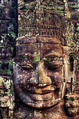 Photograph - Stone Face At Bayon by Fabrizio Troiani