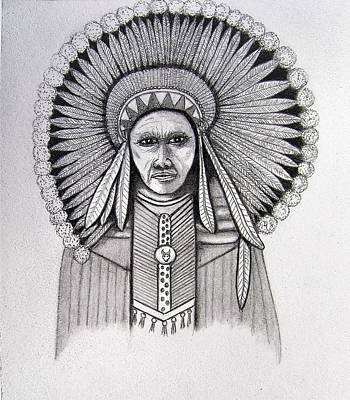Pee Drawing - Stone Face Indian by Ralph Blankenship
