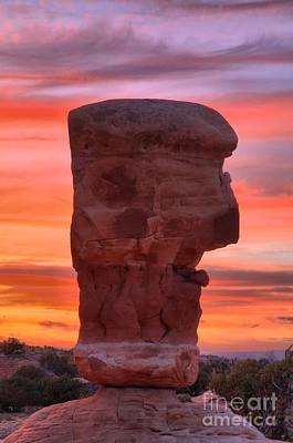Photograph - Stone Face Sunset by Adam Jewell