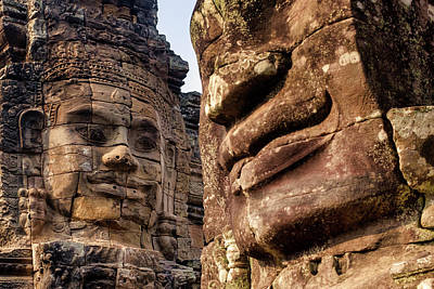 Photograph - Stone Faces At Bayon by Fabrizio Troiani