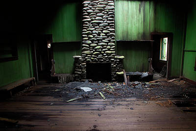 Photograph - Stone Fireplace by Mike Eingle