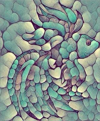 Digital Art - Stone Fish Aqua by Megan Walsh