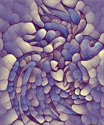 Digital Art - Stone Fish In Blues And Lavender by Megan Walsh