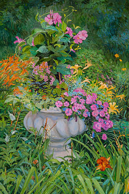 Painting - Stone Flower Pot In A Garden by Judith Barath