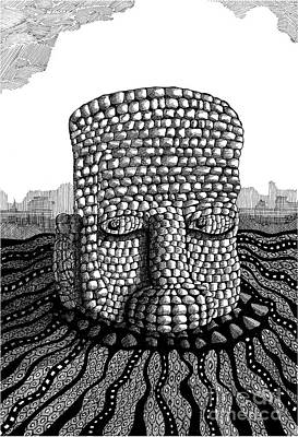 Dave Drawing - Stone Head by Dave Edwards