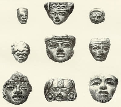 Precolumbian Drawing - Stone Heads And Masks Found At Teotihuacan, Mexico by Spanish School