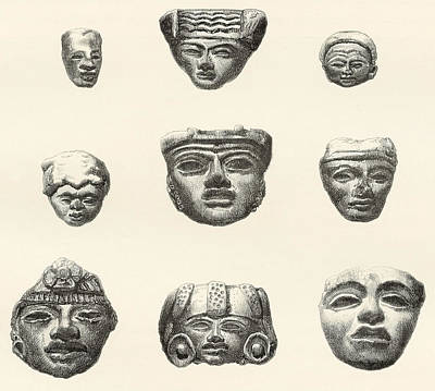 Relic Drawing - Stone Heads And Masks Found by Vintage Design Pics