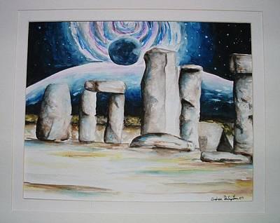 Henge Painting - Stone Henge by Andrea  Darlington
