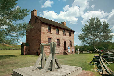Stone House At Manassas With Digital Effects Art Print