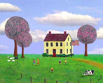 Stone House In Spring Art Print by Paul Little