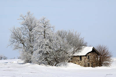 Stone House In Winter Art Print