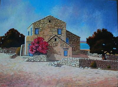 Stone House On The Beach Art Print by Santo De Vita