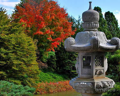 Stone Lantern In Autumn Original by Nancy Mueller