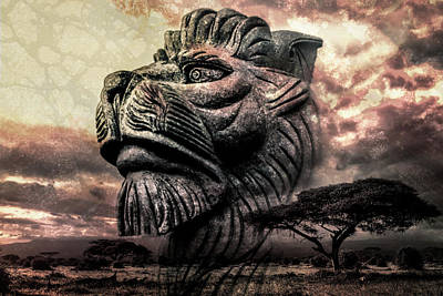 Photograph - Stone Lion 2 by Michael Arend