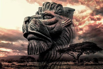 Photograph - Stone Lion by Michael Arend