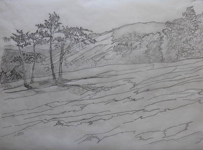Drawing - Stone Mountain And The Four Sisters by Joel Deutsch