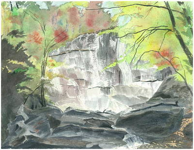 Painting - Stone Mountain Falls - The Upper Cascade - IIi - Autumn by Joel Deutsch