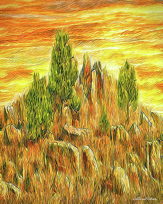 Mountain Sunset Digital Art - Stone Mountain Sunset - Colorado by Joel Bruce Wallach
