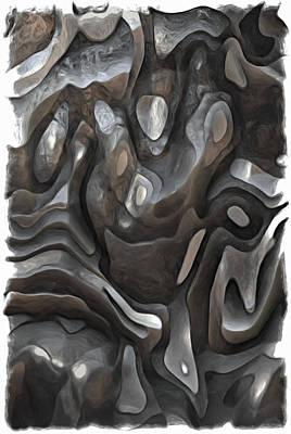 Rock Shapes Painting - Stone Or Metal Forms by Jack Zulli