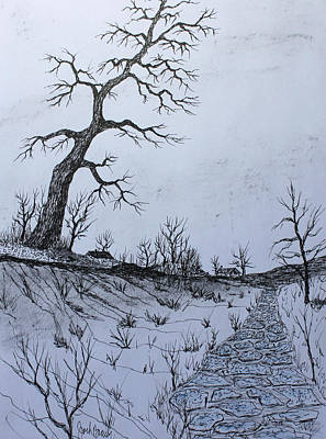 Drawing - Stone Path 150412 by Jack G Brauer