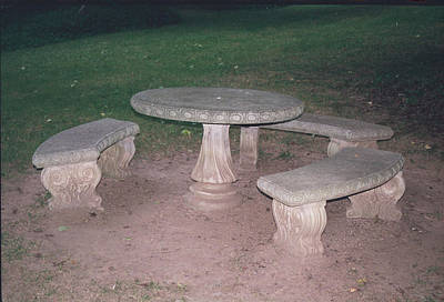 Stone Picnic Table And Benches Art Print