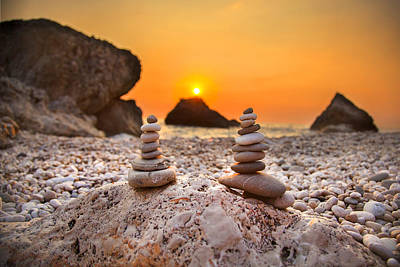 Lefkada Photograph - Stone Piles On The Beach With Sunset by Sandra Rugina