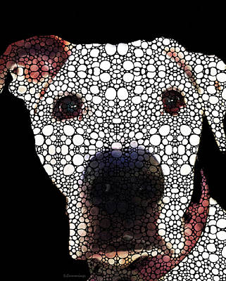 Stone Rock'd Dog 2 By Sharon Cummings Art Print