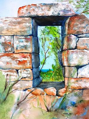 Painting - Stone Ruins Doorway by Carlin Blahnik