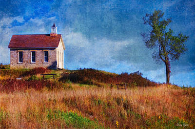 Photograph - Stone Schoolhouse On Autumn Kansas Prairie by Anna Louise